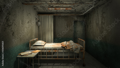 Fotografie, Tablou horror and creepy ward room in the hospital with blood
