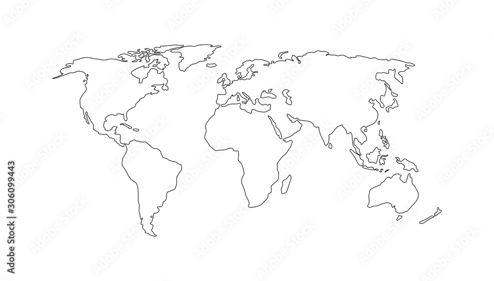 Fototapeta World map. Hand drawn simple stylized continents silhouette in minimal line outline thin shape. Vector illustration