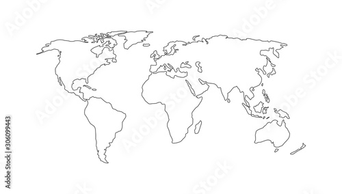 Obraz World map. Hand drawn simple stylized continents silhouette in minimal line outline thin shape. Vector illustration - fototapety do salonu