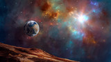 Space background. Earth planet with colorful fractal nebula. Elements furnished by NASA. 3D rendering