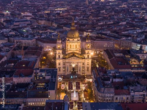 Fototapeta St. Stephen's Basilica in Budapest Hungary at night obraz na płótnie