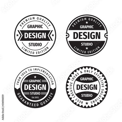 Photo Design graphic badge logo vector set in retro vintage style