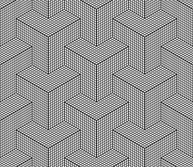 Seamless geometric isometric pattern. 3D illusion.