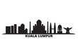 Malaysia, Kuala Lumpur city skyline isolated vector illustration. Malaysia, Kuala Lumpur travel cityscape with landmarks