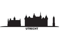 Netherlands, Utrecht City Skyline Isolated Vector Illustration. Netherlands, Utrecht Travel Cityscape With Landmarks