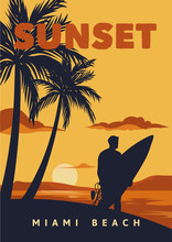 Sunset Miami Beach Poster Illu...
