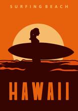 Surfing Beach Hawaii Poster Illustration Design Woman Silhouette Surfboard Vintage Retro Style