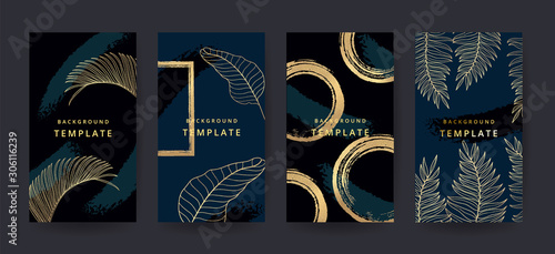 Fototapeta Luxury hard paint cover design backgrounds vector. Trendy style  Gold tropical leaf pattern with copy space for text design for invitation, Party card,Social Highlight Covers and stories page  obraz