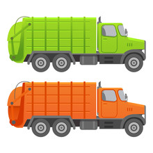 Garbage Truck.Garbage Recycling And Utilization Equipment. Flat Illustration Vector.