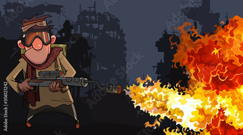 cartoon man with a flamethrower in the ruins of a post apocalypse Wallpaper Mural