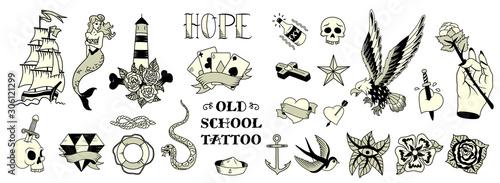 Fototapeta Tattoo Black White Set  obraz