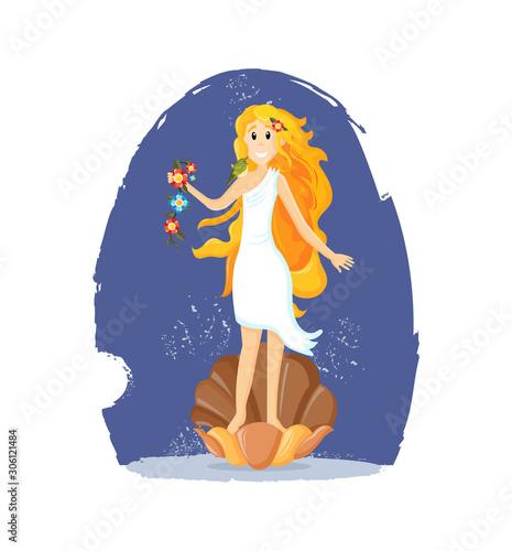Photo Ancient greek mythological goddess Aphrodite vector cartoon illustration