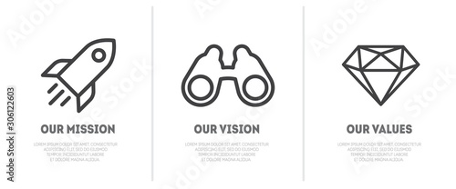 Fotografía Simple flat icon for visualisation of Mission, Vision and Values of company