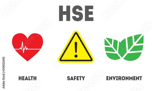 HSE - Health Safety Environment acronym concept banner design template Canvas Print