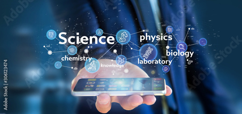 Fototapeta Businessman holding Science icons and title obraz na płótnie