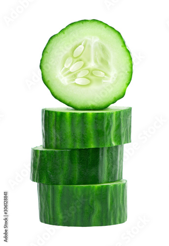 Pinturas sobre lienzo  Cucumber slice on white