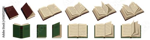 Fotografie, Obraz 開いた本と閉じた本のベクターイラストレーション。背景は白。文字に特定の意味は無く、取り外し可能。