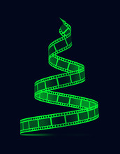 Film Strip In The Form Of A Christmas Tree. Film Reel. Happy New Year For Photographers, Videographers, Film Production, Etc. 3d Illustration On Black