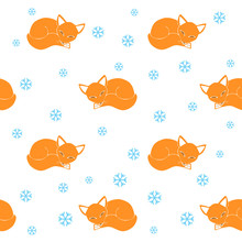 Sleeping Little Foxes And Snow...