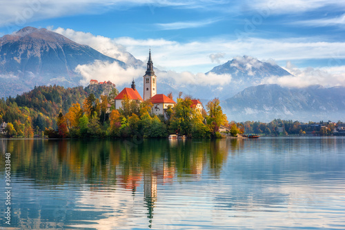 Famous alpine Bled lake (Blejsko jezero) in Slovenia, amazing autumn landscape Wallpaper Mural