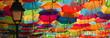 Leinwandbild Motiv Colorful umbrellas in the street. Agueda, Portugal