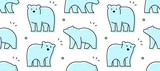 Fototapeta Fototapety na ścianę do pokoju dziecięcego - Seamless pattern with Bears. Icon design. isolated on white background