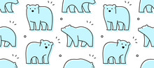 Seamless Pattern With Bears. Icon Design. Isolated On White Background