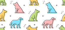 Seamless Pattern With Dogs. Is...