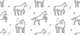 Fototapeta Fototapety na ścianę do pokoju dziecięcego - Seamless pattern with Horses. isolated on white background