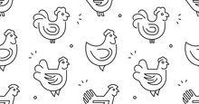 Seamless Pattern With Hens, Ch...