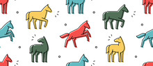 Seamless Pattern With Horses. ...