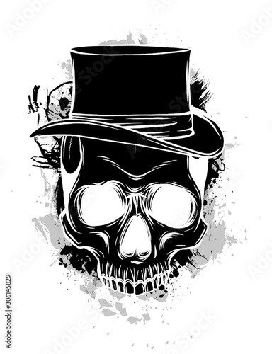 Vector skull pimp with hat illustration on white background Tablou Canvas