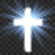 Glowing Christian Cross Isolat...