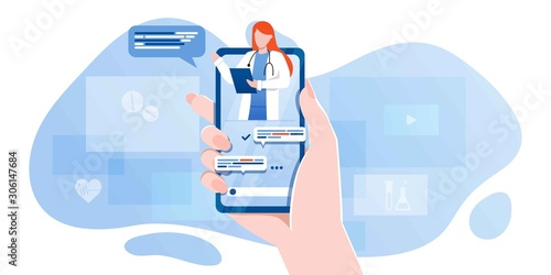 Slika na platnu smartphone screen with female therapist on chat in messenger and an online consultation
