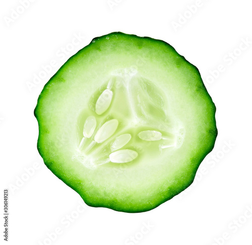 Fotografía  Cucumber slice isolated on white