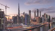 Dubai skyline at sunset aerial timelapse