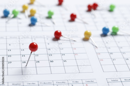 Fototapeta Many colored pins on the calendar. Place for text. Planning concept. obraz na płótnie