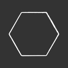 Hexagon Chalk Icon. Six-sided ...