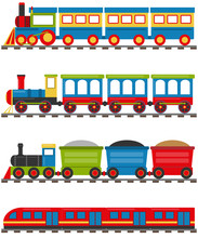 Cartoon Train With Carriages. A Cartoon Railway With A Locomotive And Wagons. Vector Illustration Of A Cartoon