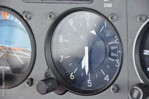 Altimeter indication in feet onboard the flight deck of a single engine piston a Wallpaper Mural