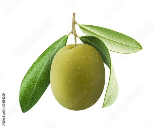 Photo One green olive with leaves isolated on white background