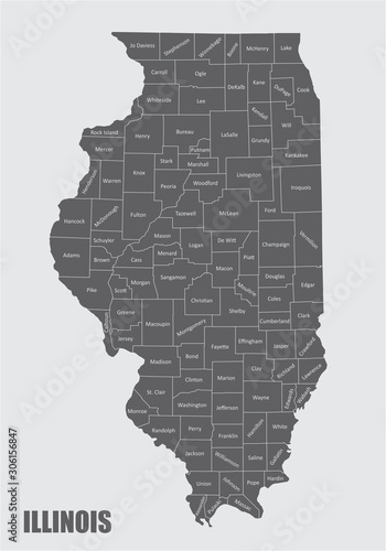 Photographie Illinois counties map