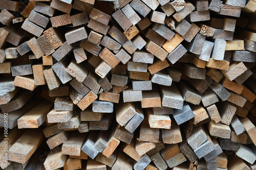 Foto op Plexiglas Brandhout textuur Colourful Pile of Timber Seen from End 6990-042