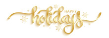 HAPPY HOLIDAYS Gold Vector Bru...