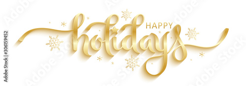 Obraz HAPPY HOLIDAYS gold vector brush calligraphy banner with snowflakes - fototapety do salonu