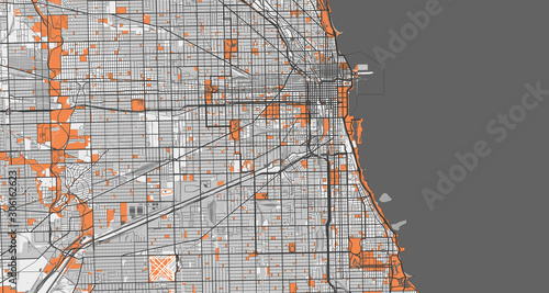 Fotomural Detailed map of Chicago, USA