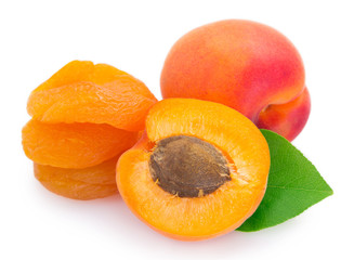 Fresh and dried apricot on white background
