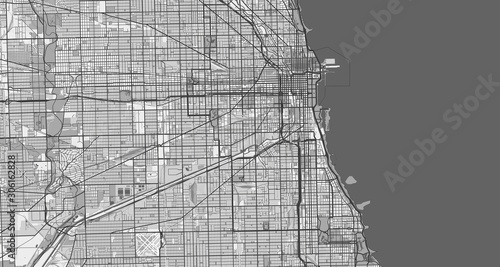 Cuadros en Lienzo Detailed map of Chicago, USA