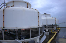 Cooling Towers Are Installed On The Rooftop  Of The Building.