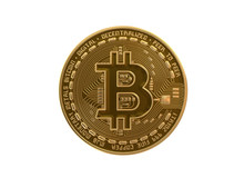 Golden Bitcoin Coin On White Background. Cryptocurrency.
